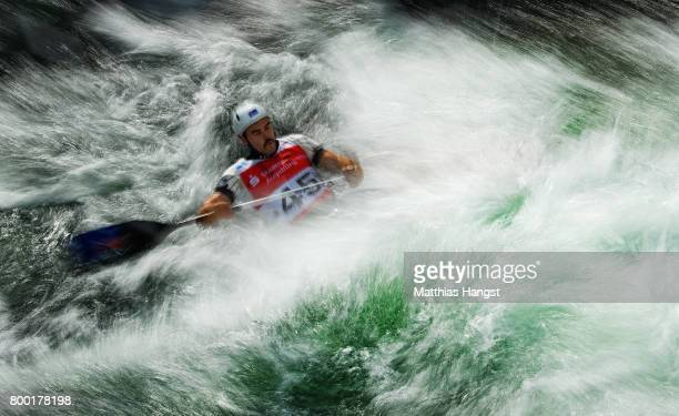 Brodie Crawford of Australia competes during the Canoe Single Men's Qualification of the ICF Canoe Slalom World Cup on June 23 2017 in Augsburg...