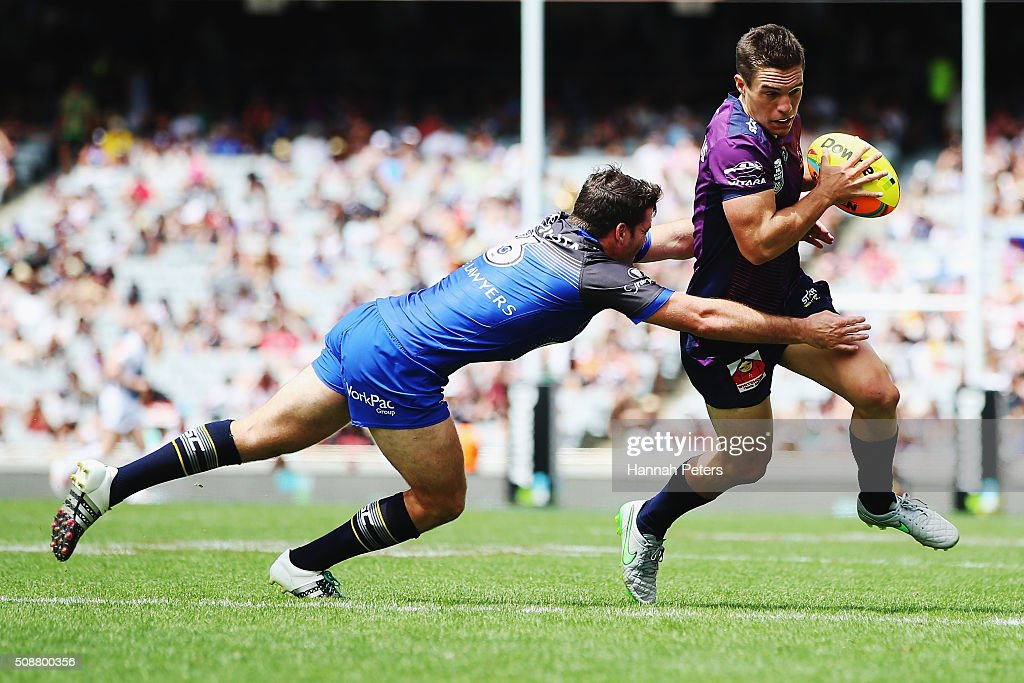 Brodie Croft of the Melbourne Storm makes a break during the 2016 Auckland Nines quarter final match between the Melbourne Storm and the North Queensland Cowboys at Eden Park on February 7, 2016 in Auckland, New Zealand.