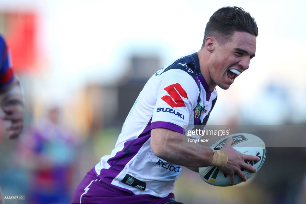 Brodie Croft of the Storm scores a try during the round 24 NRL match between the Newcastle Knights and the Melbourne Storm at McDonald Jones Stadium on August 19, 2017 in Newcastle, Australia.