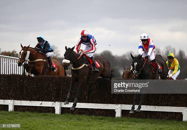 Brodie Hampson rides Jennys Surprise first time round and eventually goes on to win The Royal Artillery Gold Cup at Sandown Park on February 19 2016...