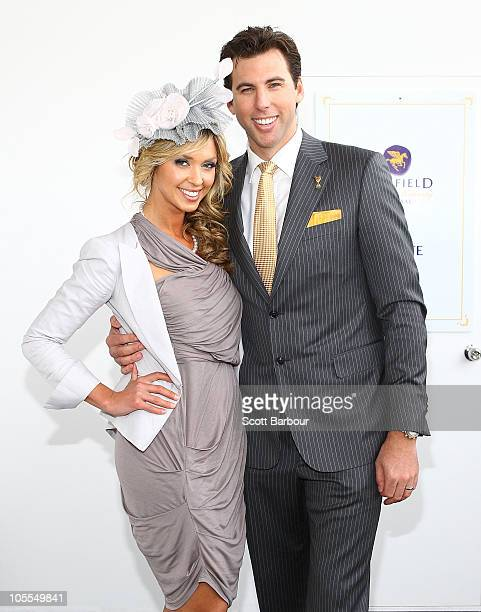 Brodie Harper and Grant Hackett attend the BMW Caulfield Cup Day at Caulfield Racecourse on October 16 2010 in Melbourne Australia
