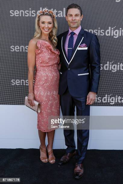 Brodie Harper and Heath Meldrum poses at the Sensis Marquee on Oaks Day at Flemington Racecourse on November 9 2017 in Melbourne Australia