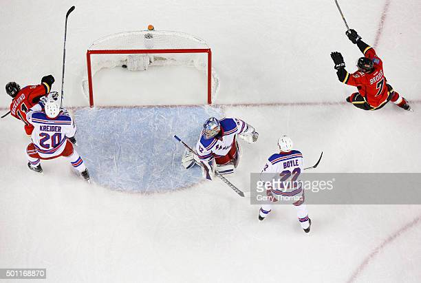 Brodie of the Calgary Flames celebrates after his OT winner against the New York Rangers at Scotiabank Saddledome on December 12 2015 in Calgary...
