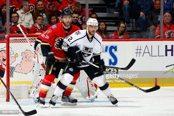 Brodie of the Calgary Flames skates against Marian Gaborik of the Los Angeles Kings during an NHL game on February 28 2017 at the Scotiabank...