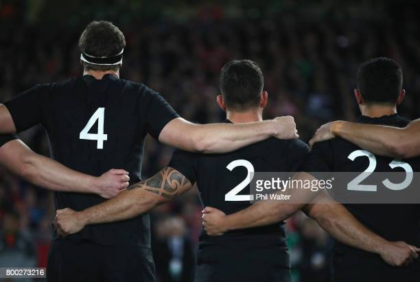Brodie Retallick Codie Taylor and Anton LienertBrown of the All Blacks line up during the first test match between the New Zealand All Blacks and the...