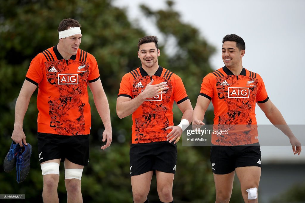 Brodie Retallick, David Havilli and Anton Leinert-Brown arrive for the New Zealand All Blacks training session on September 14, 2017 in Auckland, New Zealand.