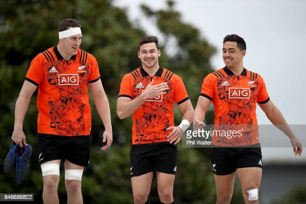 Brodie Retallick David Havilli and Anton LeinertBrown arrive for the New Zealand All Blacks training session on September 14 2017 in Auckland New...