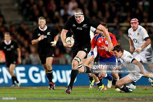 Brodie Retallick of New Zealand makes a break during the International Test Match between the New Zealand All Blacks and England at Eden Park on June...
