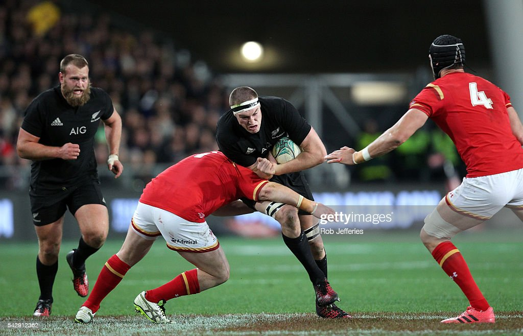 Brodie Retallick of New Zealand on the charge during the International Test match between the New Zealand All Blacks and Wales at Forsyth Barr Stadium on June 25, 2016 in Dunedin, New Zealand.