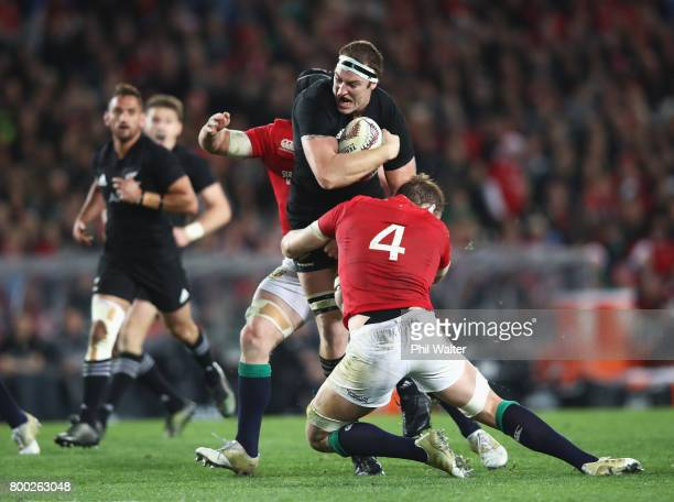 Brodie Retallick of the All Blacks is tackled by Alun Wyn Jones of the Lions during the first test match between the New Zealand All Blacks and the...
