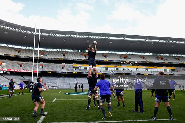 Brodie Retallick of the All Blacks takes the ball in the lineout during a New Zealand All Blacks Captain's Run at Eden Park on August 14 2015 in...