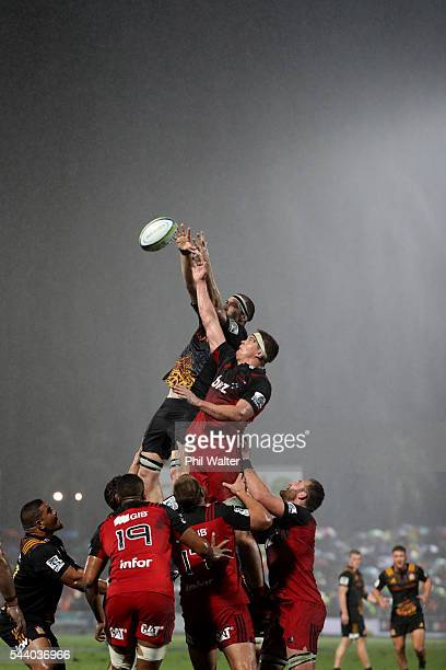 Brodie Retallick of the Chiefs and Scott Barrett of the Crusaders contest the lineout during the round 15 Super Rugby match between the Chiefs and...