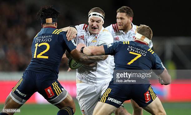 Brodie Retallick of the Chiefs on the charge during the round 17 Super Rugby match between the Highlanders and the Chiefs at Forsyth Barr Stadium on...