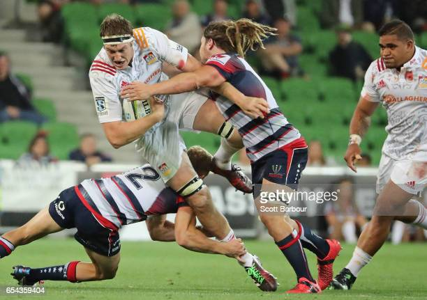 Brodie Retallick of the Chiefs runs with the ball during the round four Super Rugby match between the Rebels and the Chiefs at AAMI Park on March 17...