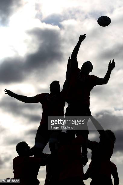 Brodie Retallick wins a lineout during a New Zealand All Blacks training session at Hutt Recreation Ground on June 27 2017 in Wellington New Zealand