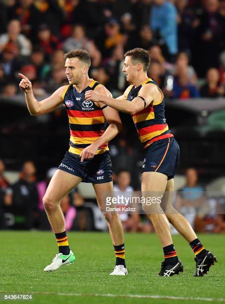 Brodie Smith of the Crows celebrates after kicking a goal during the AFL First Qualifying Final match between the Adelaide Crows and the Greater...