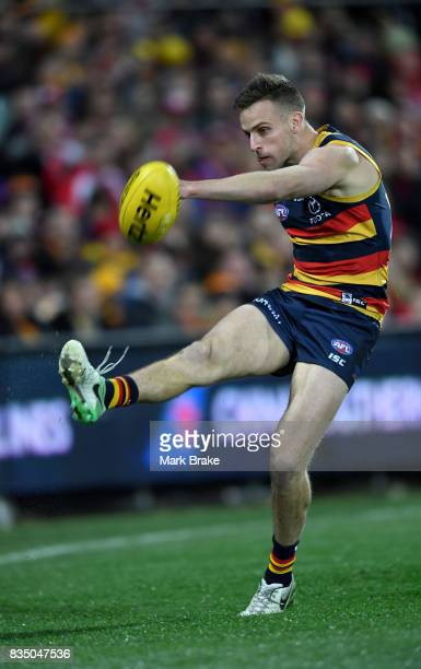 Brodie Smith of the Crows competes during the round 22 AFL match between the Adelaide Crows and the Sydney Swans at Adelaide Oval on August 18 2017...