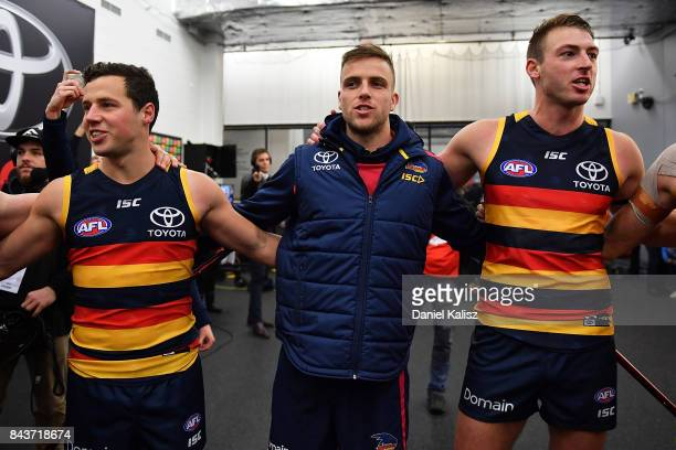 Brodie Smith of the Crows sings the club song after during the AFL First Qualifying Final match between the Adelaide Crows and the Greater Western...