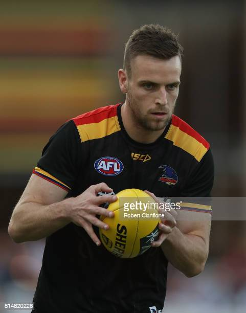 Brodie Smith of the Crows warms up for the round 17 AFL match between the Melbourne Demons and the Adelaide Crows at TIO Stadium on July 15 2017 in...