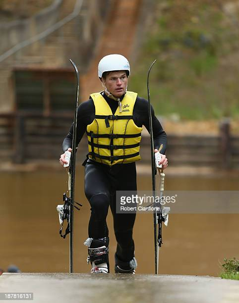 Brodie Summers of the Australian Moguls Team during a training session at the Lilydale water ramp training facility on November 12 2013 in Melbourne...