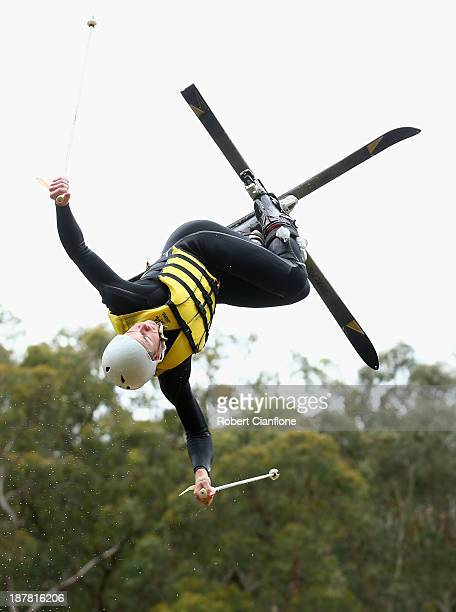 Brodie Summers of the Australian Moguls Team jumps during a training session at the Lilydale water ramp training facility on November 12 2013 in...