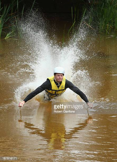 Brodie Summers of the Australian Moguls Team lands in the water during a training session at the Lilydale water ramp training facility on November 12...