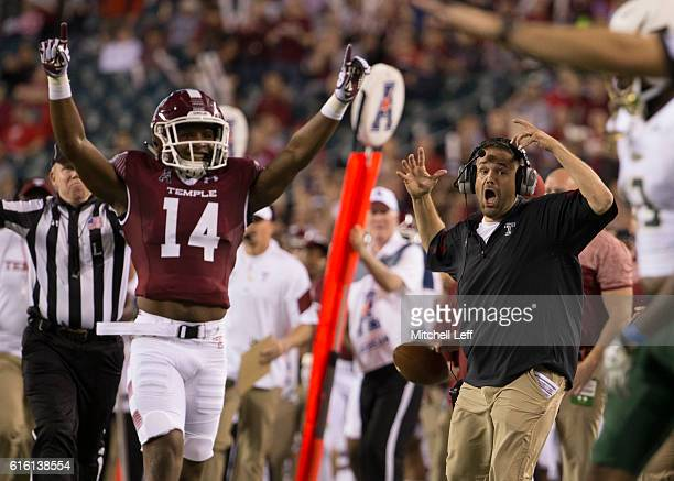 Brodrick Yancy of the Temple Owls and head coach Matt Rhule react in the second quarter against the South Florida Bulls at Lincoln Financial Field on...