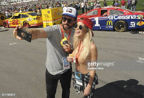 Brody Jenner and girlfriend Kaitlynn Carter are lovin' it at the Daytona 500 snacking on an Egg McMuffin and Hash Browns from McDonald's All Day...