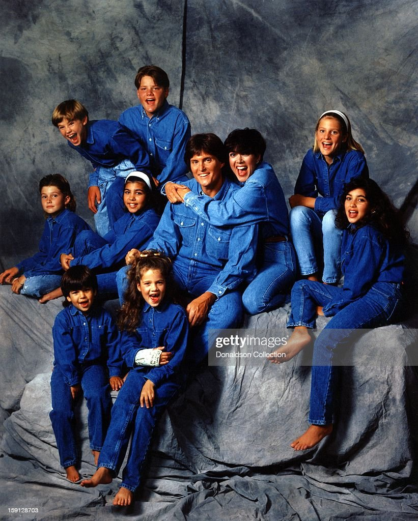 Brody Jenner, Kourtney Kardashian, Bruce Jenner, Kris Jenner, Cassandra Jenner, Kim Kardashian, (top row, L-R) Brandon Jenner, Burton Jenner,(bottom row, L-R) Robert Kardashian, Jr., Khloe Kardashian of the celebrity Jenner and Kardashian families featured in the TV show 'Keeping Up With The Kardashians' pose for a family portrait in 1991 in Los Angeles, California .