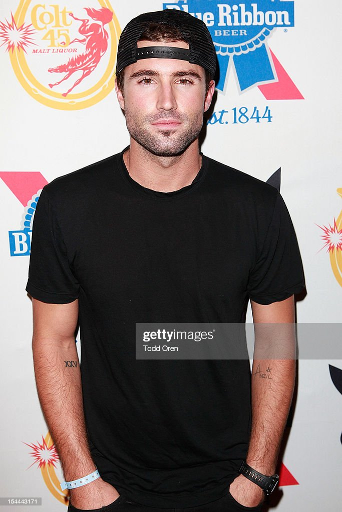 Brody Jenner poses at the Snoop Dogg Presents: Colt 45 Works Every Time at The Playboy Mansion Party with Evan and Daren Metropulos on October 19, 2012 in Beverly Hills, California.