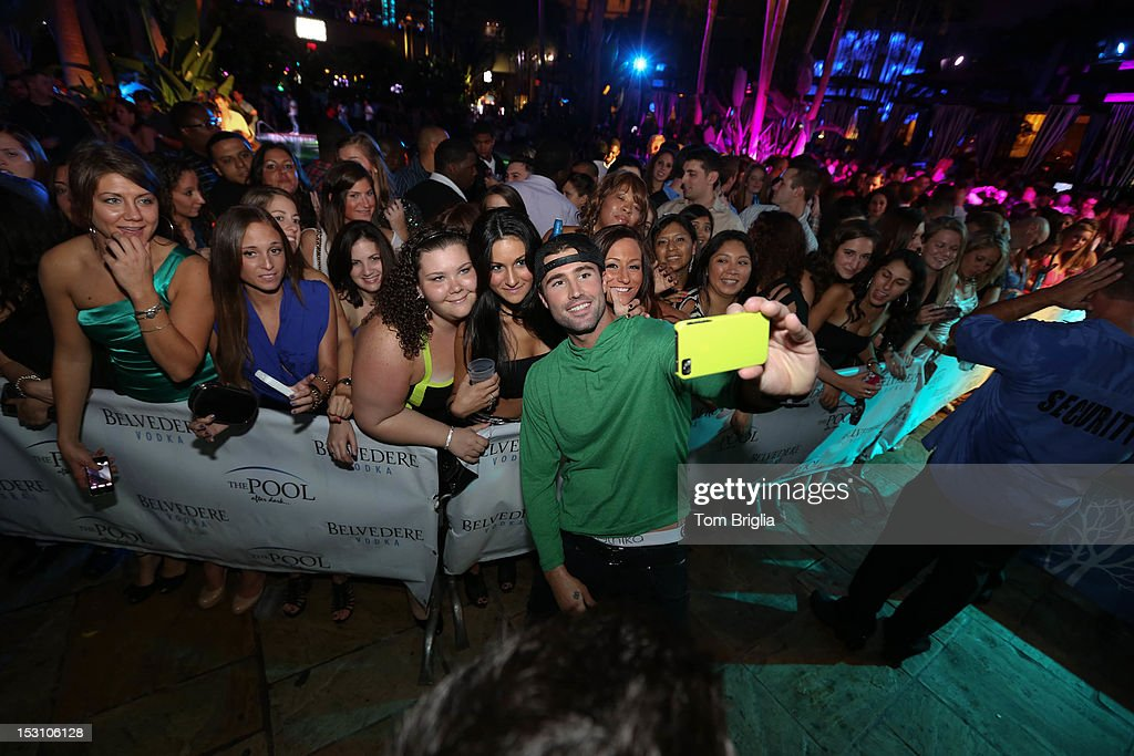 Brody Jenner poses with fans while hosting The Pool After Dark at Harrah's Resort on Saturday September 29, 2012 in Atlantic City, New Jersey.