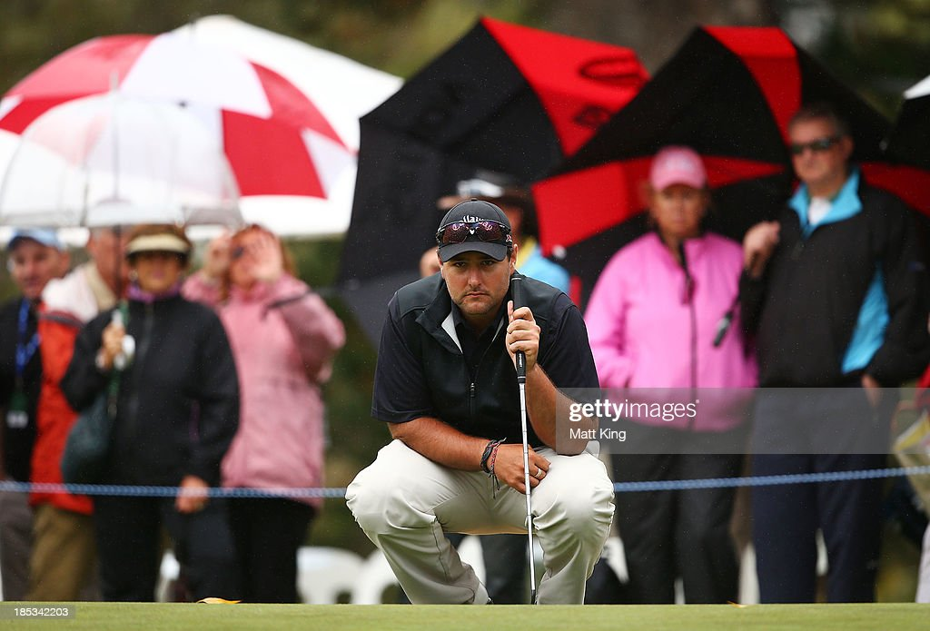 Brody Ninyette of Australia lines up a putt on the 18th hole during day three of the Perth International at Lake Karrinyup Country Club on October 19, 2013 in Perth, Australia.