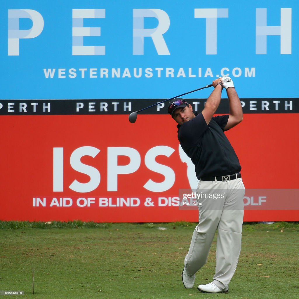 Brody Ninyette of Australia tees off on the 18th hole during day three of the Perth International at Lake Karrinyup Country Club on October 19, 2013 in Perth, Australia.