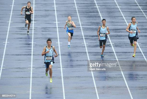 Brody Perry of NSW leads the mens under 15s 200m race during day five of the 2017 Australian Athletics Championships at Sydney Olympic Park Sports...