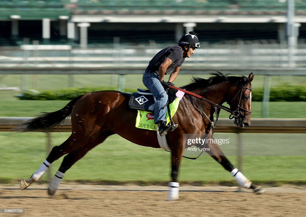 Brody's Cause runs on the track during morning training for the 2016 Kentucky Derby at Churchill Downs on April 29, 2016 in Louisville, Kentucky.