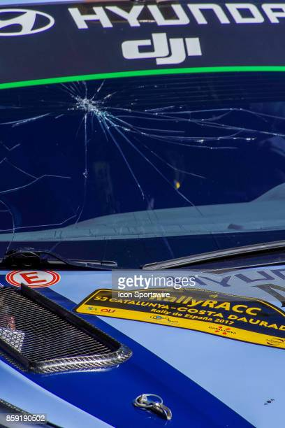 A broekn windscreen Andreas Mikkelsen and codriver Anders Jaener as the bonnet of their Hyundai Motorsport car flipped up on the Riudecanyes Stage of...