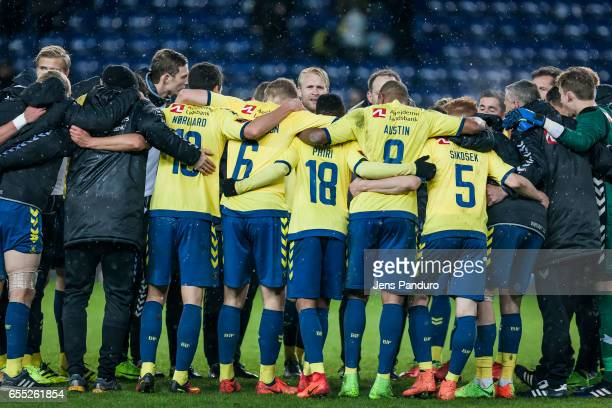 Broenbyplayers celebrate the 32 victory the Danish Alka Superliga match between Brondby IF and Lyngby BK at Brondby Stadion on March 19 2017 in...