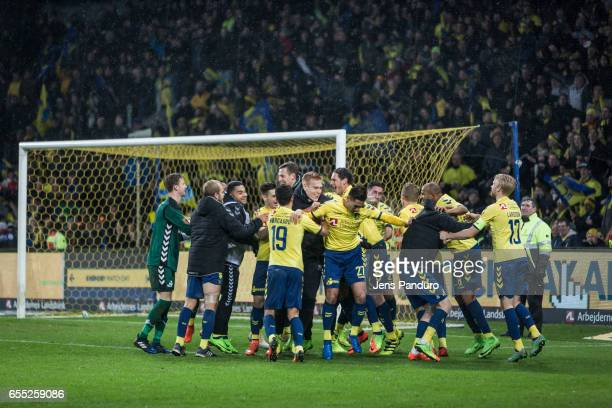 Broendby celebrates the 32 victory the Danish Alka Superliga match between Brondby IF and Lyngby BK at Brondby Stadion on March 19 2017 in Brondby...