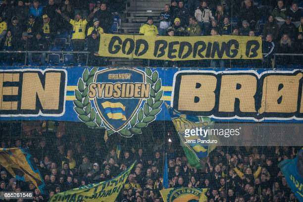 Broendbysupporters the Danish Alka Superliga match between Brondby IF and Lyngby BK at Brondby Stadion on March 19 2017 in Brondby Denmark
