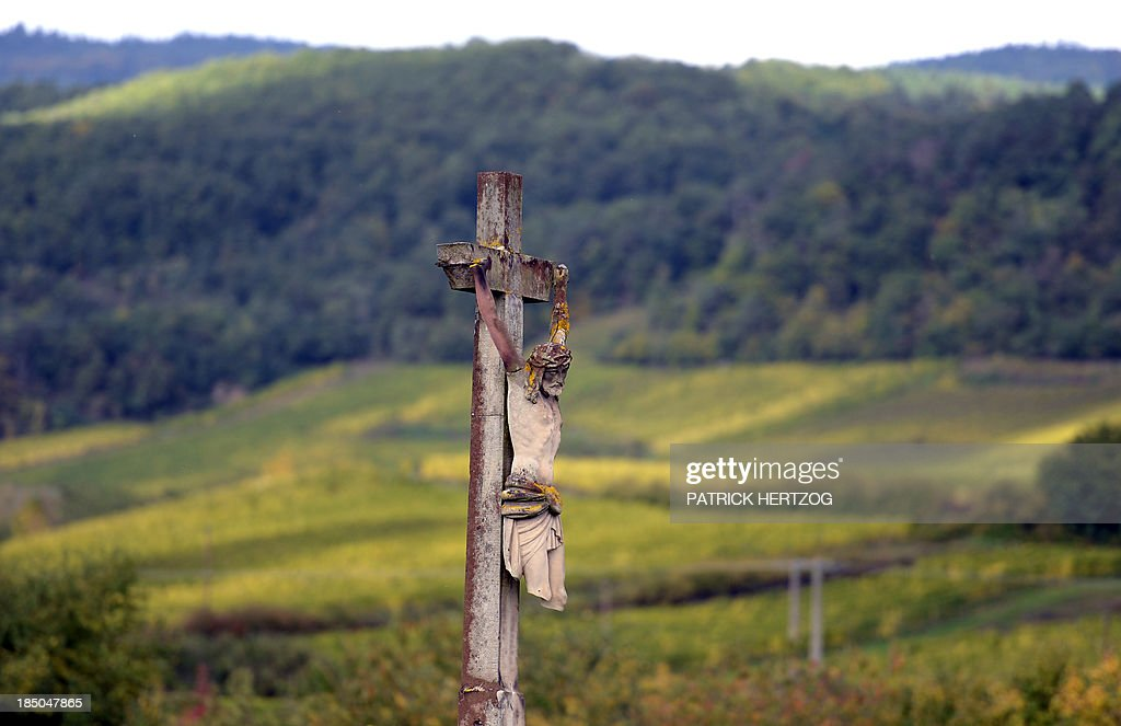 A broken calvary is pictured on October 17, 2013 in Ribeauville, eastern France.