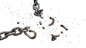 This is a dramatic shot of a chain falling apart under a severe blow of an invisible force. The chain links at the point of impact are shattered outwards in a diagonal direction. The scene is isolated