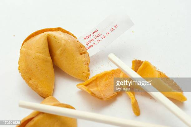 Broken Chinese Fortune Cookies Showing Fortune Inside