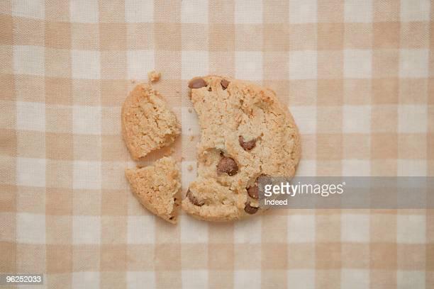 Broken chocolate chip cookie