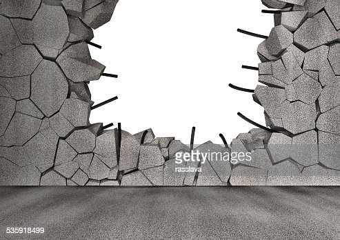 Broken Concrete Wall isolated on black background : Stock Photo