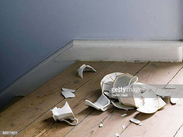 broken cup and saucer on the floor