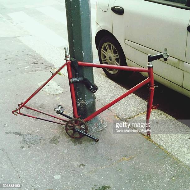 Broken cycle by the street