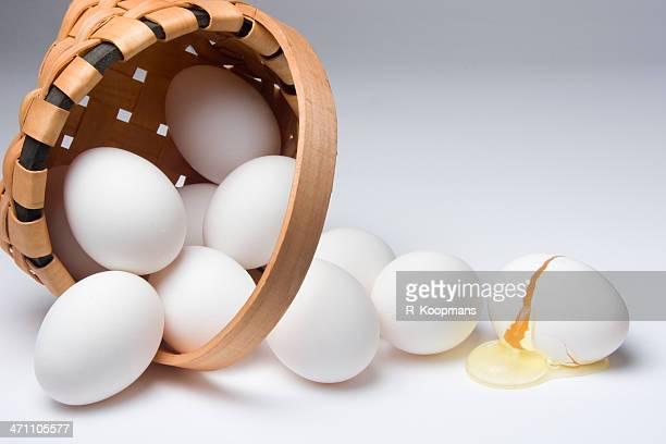 Broken egg from a spilled basket