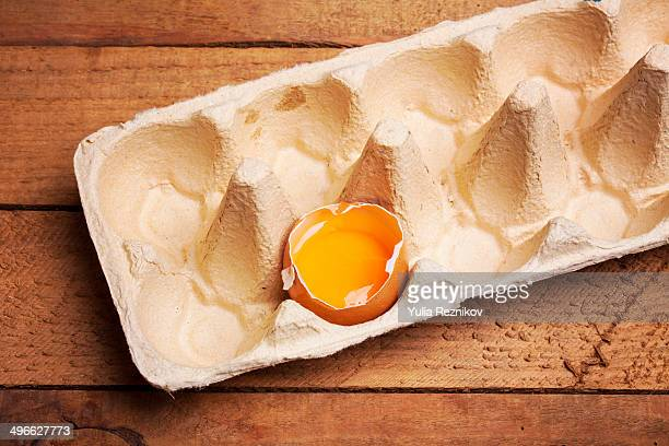 Broken egg in an egg carton on the wood background
