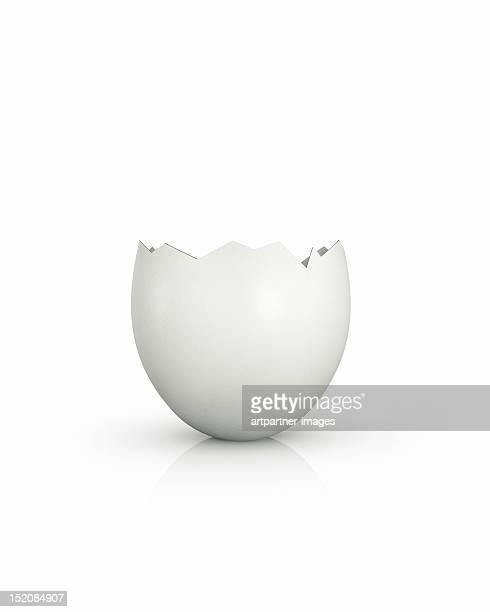 broken egg, top opened