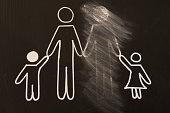 broken family on a blackboard